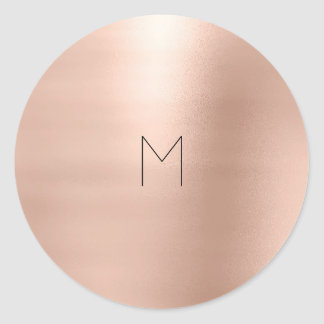 Pink Rose Gold Blush Metallic Minimal Monogram Classic Round Sticker
