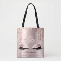 Pink Rose Gold Blush Skin Sparkly Diamond Makeup Tote Bag