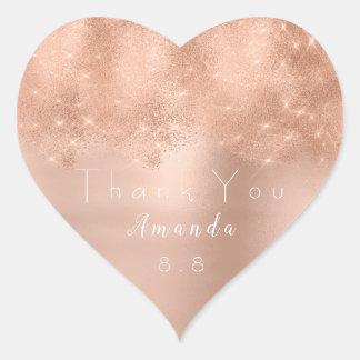 Pink Rose Gold Blush Wedding Thank You Brida Heart Heart Sticker