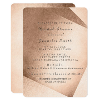 Pink Rose Gold Brush Gold Bridal Shower Birthday Card