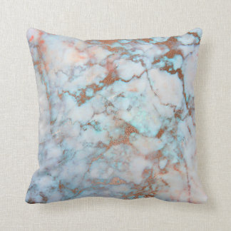 Pink Rose Gold Brush Powder Blue Ocean Marble Throw Pillow