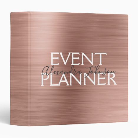 Pink & Rose Gold Brushed Metal Event Planner 3 Ring Binder