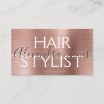 Pink & Rose Gold Brushed Metal Hair Stylist Business Card