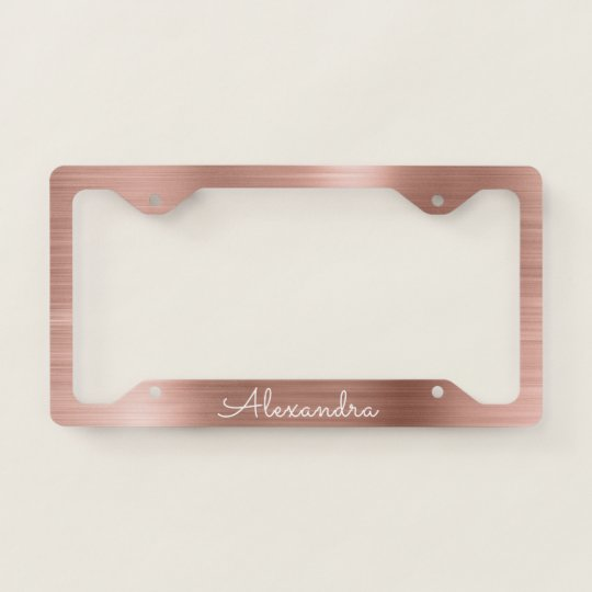 Pink Rose Gold Brushed Metal Monogram License Plate Frame | Zazzle.com