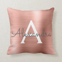 Pink Rose Gold Brushed Metal Monogram Name Throw Pillow