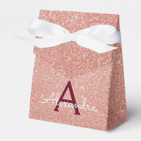 Pink Rose Gold Burgundy Glitter Sparkle Monogram Favor Box