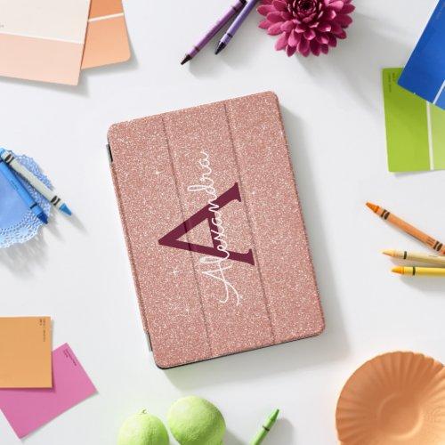 Pink Rose Gold Burgundy Glitter Sparkle Monogram iPad Pro Cover