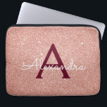 """Pink Rose Gold Burgundy Glitter Sparkle Monogram Laptop Sleeve<br><div class=""""desc"""">Blush Pink and Rose Gold Burgundy Faux Glitter and Sparkle Elegant Monogram Case. This case can be customized to include your initial and first name.</div>"""