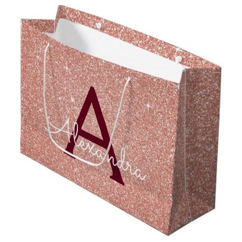 Pink Rose Gold Burgundy Glitter Sparkle Monogram Large Gift Bag