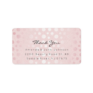 Pink Rose Gold Dots Brush Stroke Thank You Label