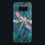 "Pink Rose Gold Dragonfly on Turquoise Blue Foil Case-Mate Samsung Galaxy S8 Case<br><div class=""desc"">Pink Rose Gold Dragonfly on Turquoise Gold Foil Background. The Girly Aqua Blue and Rose Gold Dragonfly Pattern has gold foil floral roses in the background.</div>"