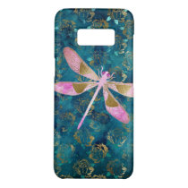 Pink Rose Gold Dragonfly on Turquoise Blue Foil Case-Mate Samsung Galaxy S8 Case