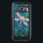 "Pink Rose Gold Dragonfly on Turquoise Blue Foil OtterBox Samsung Galaxy S7 Case<br><div class=""desc"">Pink Rose Gold Dragonfly on Turquoise Gold Foil Background. The Girly Aqua Blue and Rose Gold Dragonfly Pattern has gold foil floral roses in the background.</div>"