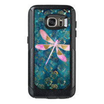 Pink Rose Gold Dragonfly on Turquoise Blue Foil OtterBox Samsung Galaxy S7 Case