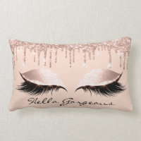 Pink Rose Gold Drips Makeup Lashes Hello Gorgeous Lumbar Pillow