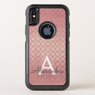 Pink Rose Gold Elegant Pattern Monogram OtterBox Commuter iPhone X Case