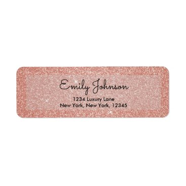 Toddler & Baby themed Pink Rose Gold Faux Glitter Sparkle Address Label
