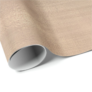 Pink Rose Gold Faux Sepia Linen Mesh Metallic Wrapping Paper