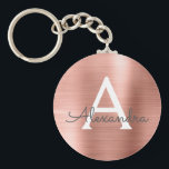 "Pink Rose Gold Faux Stainless Steel Monogram Keychain<br><div class=""desc"">Pink Rose Gold Faux Stainless Steel Metallic Elegant Keychain. These Keychains can be customized to include your initial and first name. These key chains make great birthday,  bridal shower or bachelorette party favors.</div>"