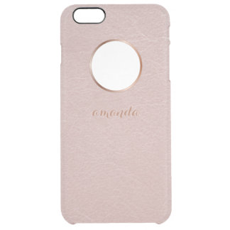 Pink Rose Gold Faux Textured Personalized Clear iPhone 6 Plus Case