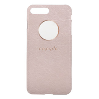 Pink Rose Gold Faux Textured Personalized iPhone 7 Plus Case