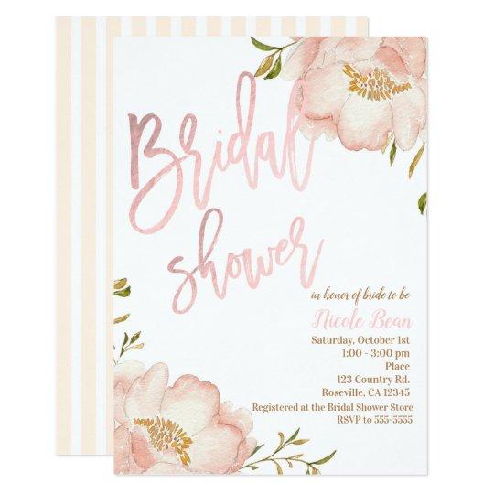 pink rose gold floral modern elegant bridal shower invitation