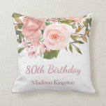 """Pink Rose Gold Flowers Womans 80th Birthday Gift Throw Pillow<br><div class=""""desc"""">Pink Rose Gold Flowers Womans 80th Birthday Gift Party Gift Pillow Cushion  See matching collection in Niche and Nest Store</div>"""