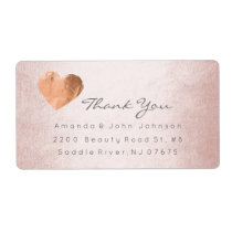 Pink Rose Gold Foil Heart Stroke Thank You Label