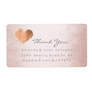 Pink Rose Gold Foil Heart Stroke Thank You Label