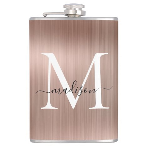 Pink Rose Gold Girly Monogram Brushed Steel Metal Flask