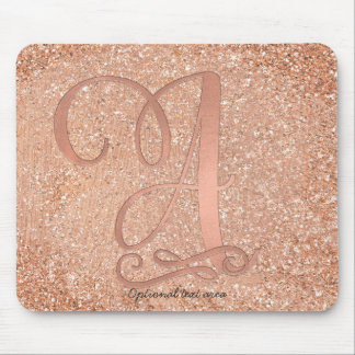 Pink Rose Gold Glam Initial Name Letter A Custom Mouse Pad