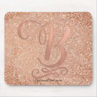 Pink Rose Gold Glam Initial Name Letter B Custom Mouse Pad