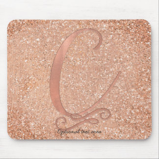 Pink Rose Gold Glam Initial Name Letter C Custom Mouse Pad