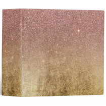Pink Rose Gold Glitter and Gold Foil Mesh Binder