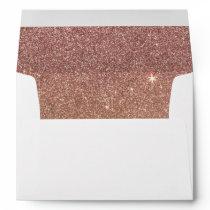 Pink Rose Gold Glitter and Gold Foil Mesh Envelope