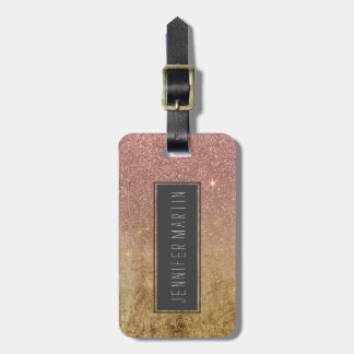 Pink Rose Gold Glitter and Gold Foil Mesh Luggage Tag