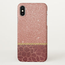 Pink Rose Gold Glitter and Sparkle Animal Print iPhone X Case