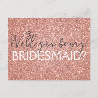 Pink Rose Gold Glitter and Sparkle Bridesmaid Invitation Postcard