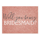 Pink Rose Gold Glitter and Sparkle Bridesmaid Postcard