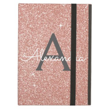 Pink Rose Gold Glitter and Sparkle Monogram Case For iPad Air