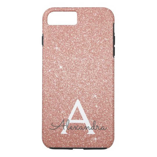 online store b4c1b 83e8a Pink Rose Gold Glitter and Sparkle Monogram Case-Mate iPhone Case