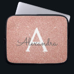 """Pink Rose Gold Glitter and Sparkle Monogram Computer Sleeve<br><div class=""""desc"""">Pink Rose Gold Faux Glitter and Sparkle Elegant Monogram Case. This case can be customized to include your initial and first name.</div>"""