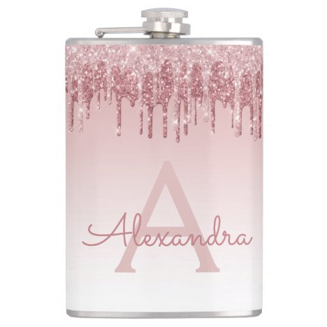 Pink Rose Gold Glitter and Sparkle Monogram Flask