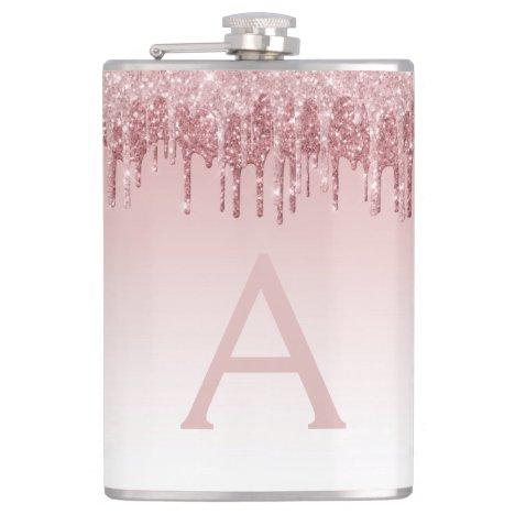 Pink Rose Gold Glitter and Sparkle Monogram Flask