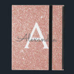 "Pink Rose Gold Glitter and Sparkle Monogram iPad Folio Case<br><div class=""desc"">Pink Rose Gold Faux Glitter and Sparkle Elegant Monogram Case. This case can be customized to include your initial and first name.</div>"