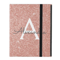 Pink Rose Gold Glitter and Sparkle Monogram iPad Folio Case