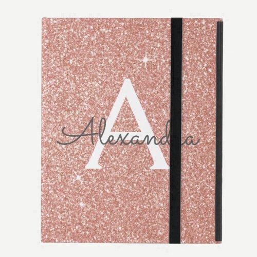 Pink Rose Gold Glitter and Sparkle Monogram iPad Folio Case