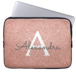 Pink Rose Gold Glitter and Sparkle Monogram Laptop Sleeve<br><div class='desc'>Pink Rose Gold Faux Glitter and Sparkle Elegant Monogram Case. This case can be customized to include your initial and first name.</div>