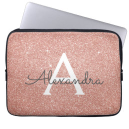 Pink Rose Gold Glitter and Sparkle Monogram Laptop Sleeve