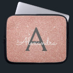 """Pink Rose Gold Glitter and Sparkle Monogram Laptop Sleeve<br><div class=""""desc"""">Pink Rose Gold Faux Glitter and Sparkle Elegant Monogram Case. This case can be customized to include your initial and first name and makes a great Sweet 16 or Christmas Gift.</div>"""